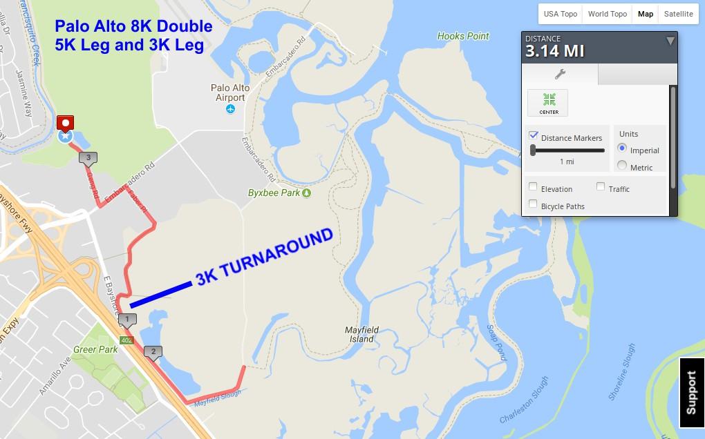 Palo Alto 5K and 3K Leg Route